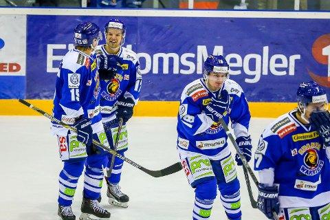 Eliteserien , Ishockey , 11.10.2014 , Sparta Amfi , Sparta v Stjernen , Sparta jubler for 4-3 målet , Foto: Thomas Andersen
