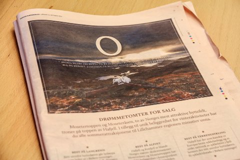 FEIL BRUK AV BILDE?: Denne annonsen er det flere som reagerer på. Bildet viser Finnmark fra sin beste side, mens annonseteksten prøver å selge Hafjell i Oppland.