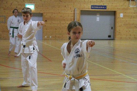 ELSKAR KARATE: Elene B. Sætrevik (9) har trent karate sidan ho var 7 år. - Viss nokon prøver å ta meg, veit eg kva eg skal gjera. Det har eg lært på karatetrening, seier ho.