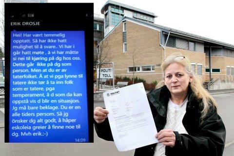 ANMELDER: Mona Gustavsen fikk tekstmelding om at hun ikke var ønsket som drosjesjåfør. Nå har hun politianmeldt Kongsvinger Taxi for rasediskriminering, som omfattes av straffeloven.