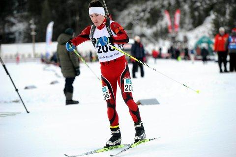 I GANG: Sondre Steinbakken fikk ikke tatt ut potensialet da juniorenes morgescup i skiskyting ble innledet i Folldal. Foto: Svein Halvor Moe