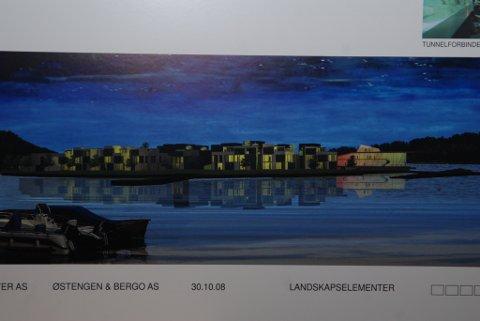 Holmen by night, slik det fremstilles i en av illustrasjonene som fulgte med vinnerutkastet i arkitektkonkurransen.