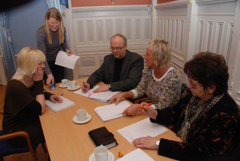 Ad hoc-utvalget består av (f.h.)Llill Jorun Larsen, Liv Jorunn Høiberg, Steinar Gundersen og Linda Heistad. Malin Paust (stående) er sekretær for utvalget.