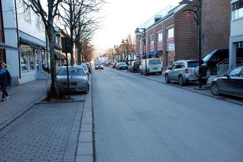 Mye ledig: En rekke butikklokaler i Hokksund sentrum står tomme