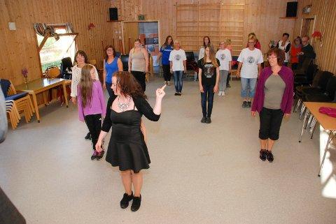 LINEDANCE: Det var bare jenter som deltok på linedance-kurset ledet av Christina Masternes Korslund.
