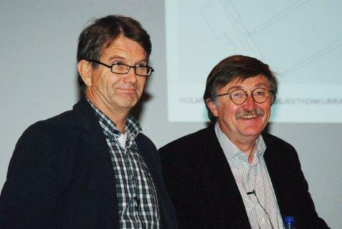 Landskapsarkitekt Johan Østengen og arkitekt Oddvar Johansen høstet applaus etter sin presentasjon av Holmenprosjektet torsdag kveld.