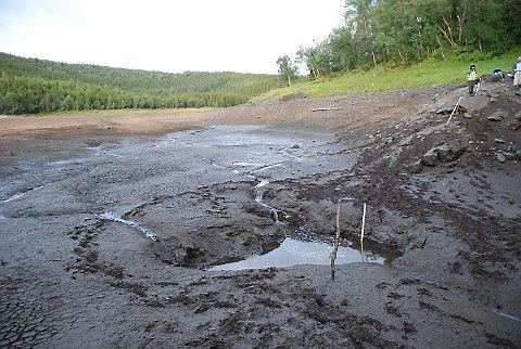 FØR: For bare 14 dager siden var det bare et krater igjen av Engavatnet, etter at vannet nok en gang hadde gått under jorda.  (Foto: Sigfrid Hagerup)