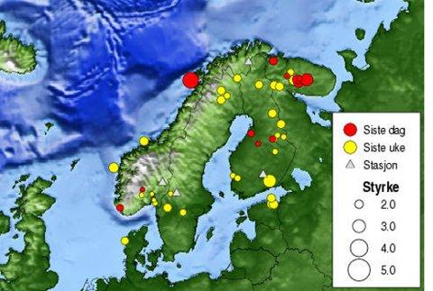 Dette OPPDATERTE kartet fra Norsar vise hvor jordskjelvet hadde sitt senter.