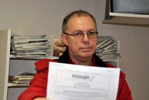 Lasse Veiesund  med faksen fra Websøk