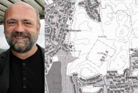 Fylkesplansjef Ole Helge Haugen stiller seg negativ til søknaden fra Kristiansund kommune om å få bygge fire småhus i et friområde på Røssern i Kristiansund. Kartutsnitt fra Kristiansund kommune