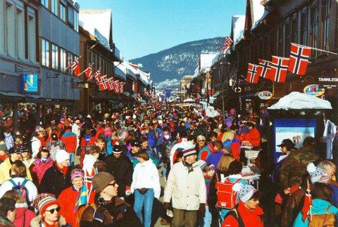 Stågata - Storgata i Lillehammer under OL i 1994.