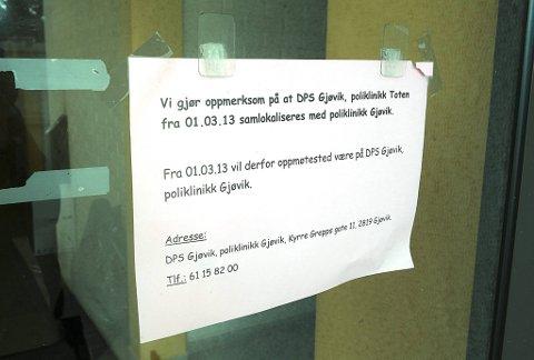 Sentraliserer: DPS Toten er slått sammen med DPS poliklinikken på Gjøvik. Første arbeidsdag er i dag. Foto: Henning Gulbrandsen.
