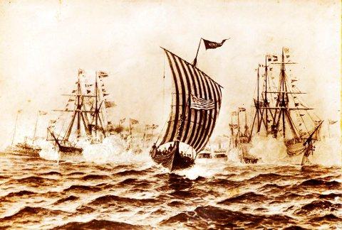 «Vikingskipet» stevner inn til utstillingsbyen ledsaget av en stor armada av skip. Opprinnelig gjengitt på første side i «Chicago Tribune».