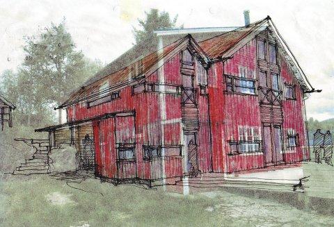 Skissa som arkitekt Tom-Rich Kristiansen har laget viser hovedhuset, med ei antydning av hvordan den gamle brygga var.