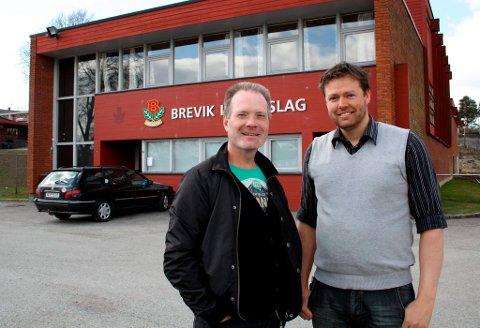 Jan Brønsten og Steinar Planting i Brevik Idrettslag kjemper for ny flerbrukshall.