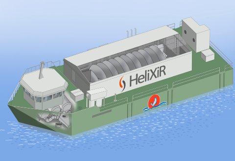 Behandlingsflåten blir 32 x 12 meter og vil inneholde en HeliX levendekjølingstank på 133 kubikkmeter. Illustrasjon: Stranda Prolog