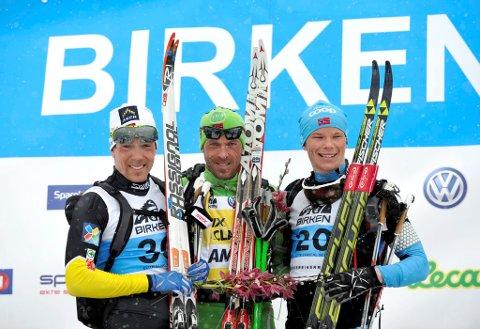 Forsker Erik Joner ønsker et forbud mot skismøring som inneholder fluor i Birkebeinerrennet. Her er årets tre beste i rennet (f.v.) Eldar Rønning, Anders Aukland og Espen Harald Bjerke.
