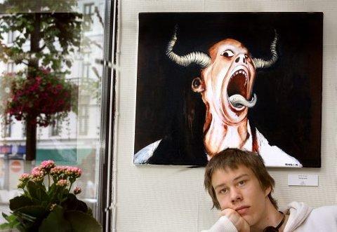Det to år gamle bildet «Selvportrett» viser kanskje hvordan en tenåringer føler seg når det stormer som verst. Bendik Laland understreker likevel at han synes portrettet ligner på han selv.