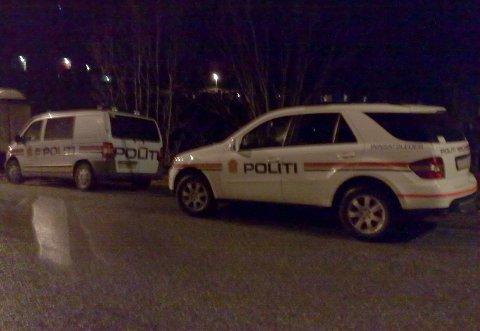 To politibiler i Eidsvågveien. Politiet rykket ut med fem-seks enheter til boligstrøket i Fagerbakken på Eidsvågneset (01.01.2009).