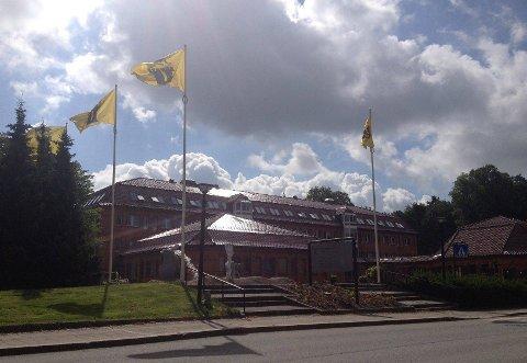 FLAGG: Foran rådhuset var det i dag kun kommunens egne flagg som vaiet i vinden på olsok. (Foto: Tor Viskum)