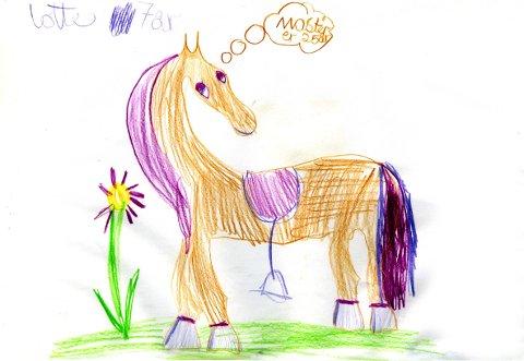 hest: Denne tegningen har vi fått fra Lotte, men vi har verken etternavn eller adresse. Tusen takk for flott tegning!