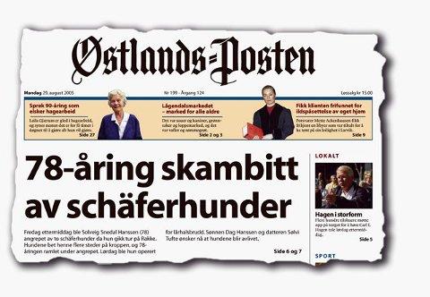 Faksimile Østlands-Posten 29. august 2005.