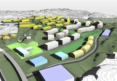 Denne skissen viser hvordan Bybo og Zeb ser for seg at boligfeltet på Ådland.