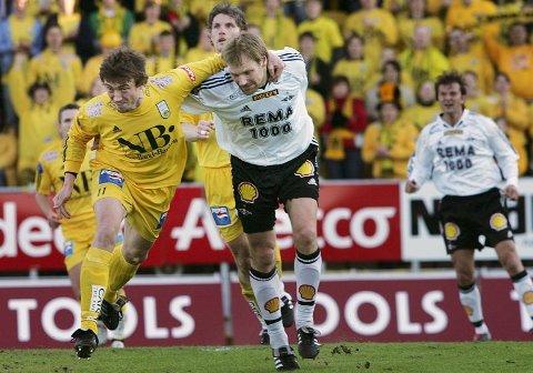 Ny dansepartner. Håvard Sakariassen og Erik Hoftun kjempet iherdig mot hverandre da Rosenborg stjal tre poeng på Aspmyra tidligere i sesongen. Nå blir de lagkamerater i helgult.Foto: Tom Melby