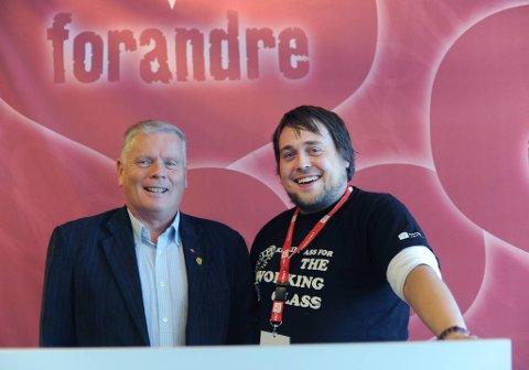 Nyvalgt leder Ola Harald Svenning i Fagforbundet ungdom, sammen med leder Jan Davidsen.