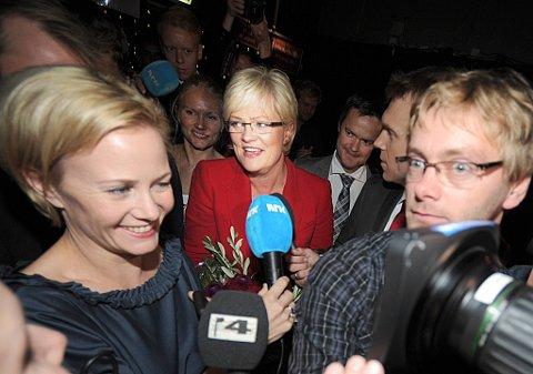 SV-leder Kristin Halvorsen ankommer valgvaken på Rockefeller i Oslo. Senere kunngjorde hun at partiet må finne en ny partilederfør valget i 2013.