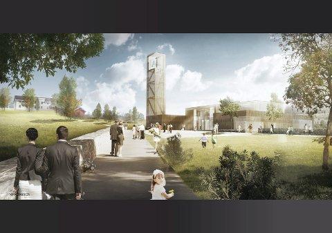 ny kirke: I tilknytning til kulturhuset vil den ny kirken bli bygd, lengst vekk fra Rv 4, vendt mot vest.