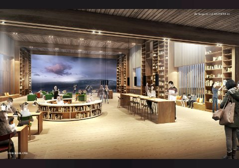ut i naturen: Et besøk i det kommende biblioteket i Nittedal blir nærmest som å kombinere boklån med en tur i Marka.alle ill.: JM Norges as/L2 arkitekter as