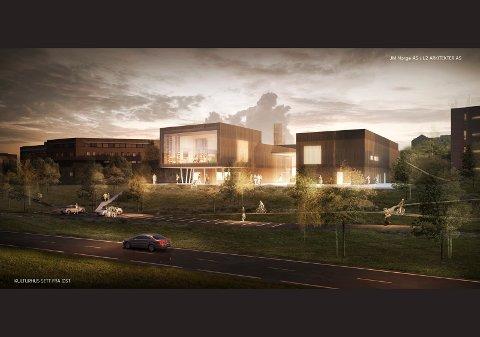 godt synlig: Kulturhuset i Nittedal vender seg mot Rv4, beliggende mellom rådhuset i sør og Mosenteret i nord. Biblioteket ligger i bygget med den største vindusflaten.