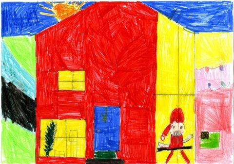 nissen kommer: Ni år gamle August Hovde fra Gjøvik sendte oss denne tegningen til julekonkurransen. Han skriver: «Tegningen min handler om at nissen kommer med julepresanger.» Tusen takk for flott, fargerik tegning, August.