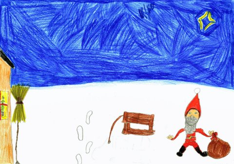 venter: Nora Ingrid Solum (9 år) fra Gjøvik sendt oss denne tegningen til julekonkurransen. Hun skriver: «Min nisse er på veg til et hus med et stort og fint juletre. Men det han ikke vet er at det fortsatt er noen som ser på film. Så når han kommer inn sitter alle i stua og venter!» Tusen takk for flott tegning, Nora Ingrid!
