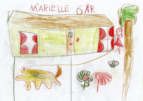 ut på tur: Seks år gamle Marielle Bratlistuen fra Snertingdal har tegnet at hun og Bella står og venter på bestemor når de skal ut å gå tur. Tusen takk for flott tegning, Marielle!