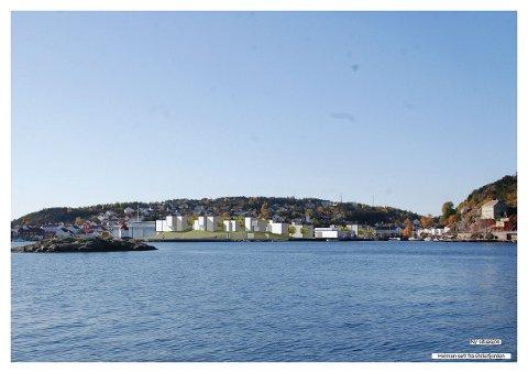 Sett fra øst. Høydedraget  vil se ut som en øy og bruk av skiferheller vil skape et  inntrykk av svaberg. (Kritt/Østengen og Bergo)