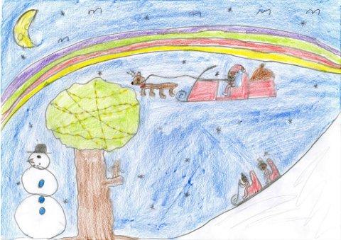 nissen er på tur: Ni år gamle Sanna Seldenrijk har sendt oss denne tegningen. Hun går i Vindingstad SFO. Tusen takk for flott tegning, Sanna!