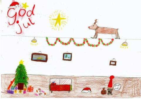 jul i stua: Ida Paulsberg (9 år) fra Gjøvik har sendt oss denne tegningen. Hun skriver: «Du ser en julenisse som akkurat har levert gaver. Og familien er veldig glad i julen». Så ønsker hun god jul til voksne og barn! Tusen takk for flott tegning, Ida!
