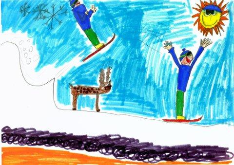 på ski: Ida Anine Nylund fra Gjøvik har sendt oss denne tegningen. Hun går på Vindingstad SFO. Tusen takk for flott tegning, Ida!