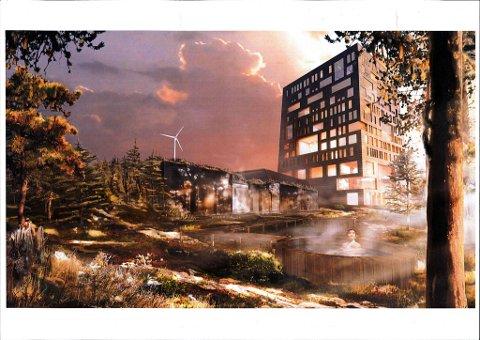 NULLUTSLIPP: Bislingen hotell vil bli et referansebygg for nye, store bygg, sier Håkon Ø. Schiong. I forgrunnen ser vi skogsbadet. Vindmøllen bak skal skaffe strøm til hele anlegget. Oppvarming skal skje ved hjelp av et biobrenselanlegg. Bildet viser hotellet fra sørsiden. Illustrasjon: Snøhetta