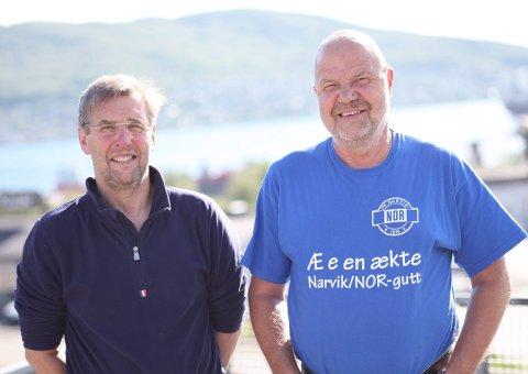 EKTE NARVIK-GUTER: Terje Dahl (th) oppfyller de fleste kriteriene; han har jobbet på Bolaget og er i tillegg en ekte Narvik/NOR-gutt. Viggo Kristensen er fra Framnes, men står i fare for å falle utenfor finsilingen