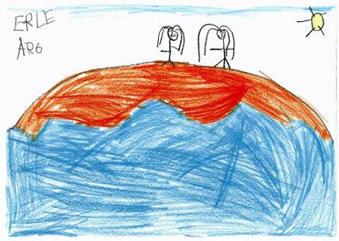 bade: Her er to jenter på vei ned til vannet for å bade. Denne flotte tegningen har vi fått fra seks år gamle Erle Moe Ruud fra Gjøvik. Tusen takk for tegningen, Erle!