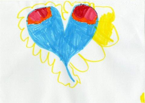 hjerte: Sju år gamle Mathilde Raae Robertson har tegnet dette flotte hjertet. Mathilde går på Vindingstad SFO. Tusen takk for fin tegning, Mathilde!