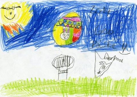 påskeegg I: ? Jeg har tegnet et påskeegg med en påskehare, og jeg er Liverpool-fan, skriver sju år gamle Elise Vesterås. Hun bor i Hunndalen og går på Blomhaug SFO. Tusen takk for fin tegning, Elise!