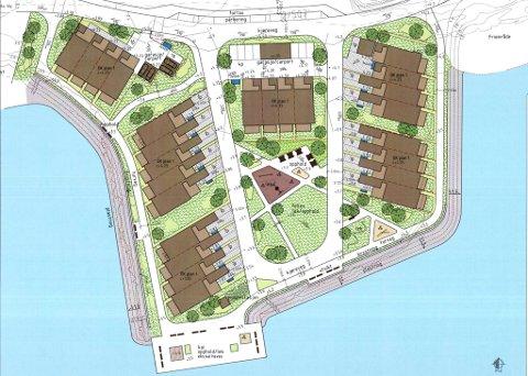 Tenkt: Slik har arkitekten foreslått plasseringen av rekkehusene. Illustrasjon: Plan arkitekter