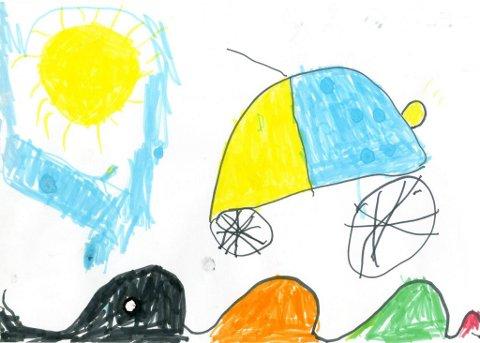 bil: Felix Fylkesnes Fekjær, som går på Vindingstad SFO, har sendt oss denne tegningen. Tusen takk for flott tegning, Felix!