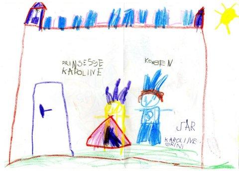 prinsessen  og kongen: Fem år gamle Karoline Grini fra Gjøvik har tegnet seg selv som prinsesse sammen med kongen. Tusen takk for flott tegning, Karoline!