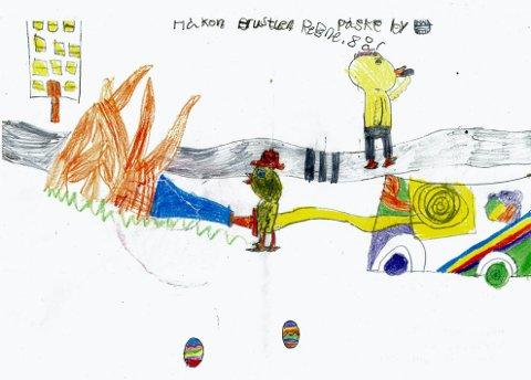 brannslukking: Håkon Brustuen Rebne (9 år) fra Reinsvoll har tegnet denne flotte tegningen av en påskekylling som driver med brannslukking. Tusen takk for tegningen, Håkon!