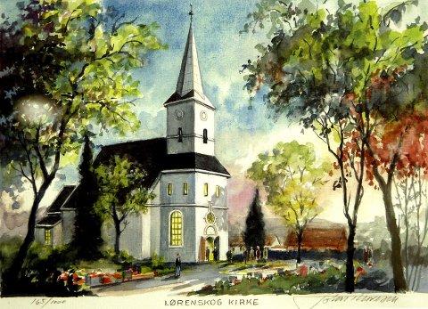LOKALT: John Thoresen stiller ut mange bilder med motiver fra Lørenskog, som dette av gamle Lørenskog Kirke.